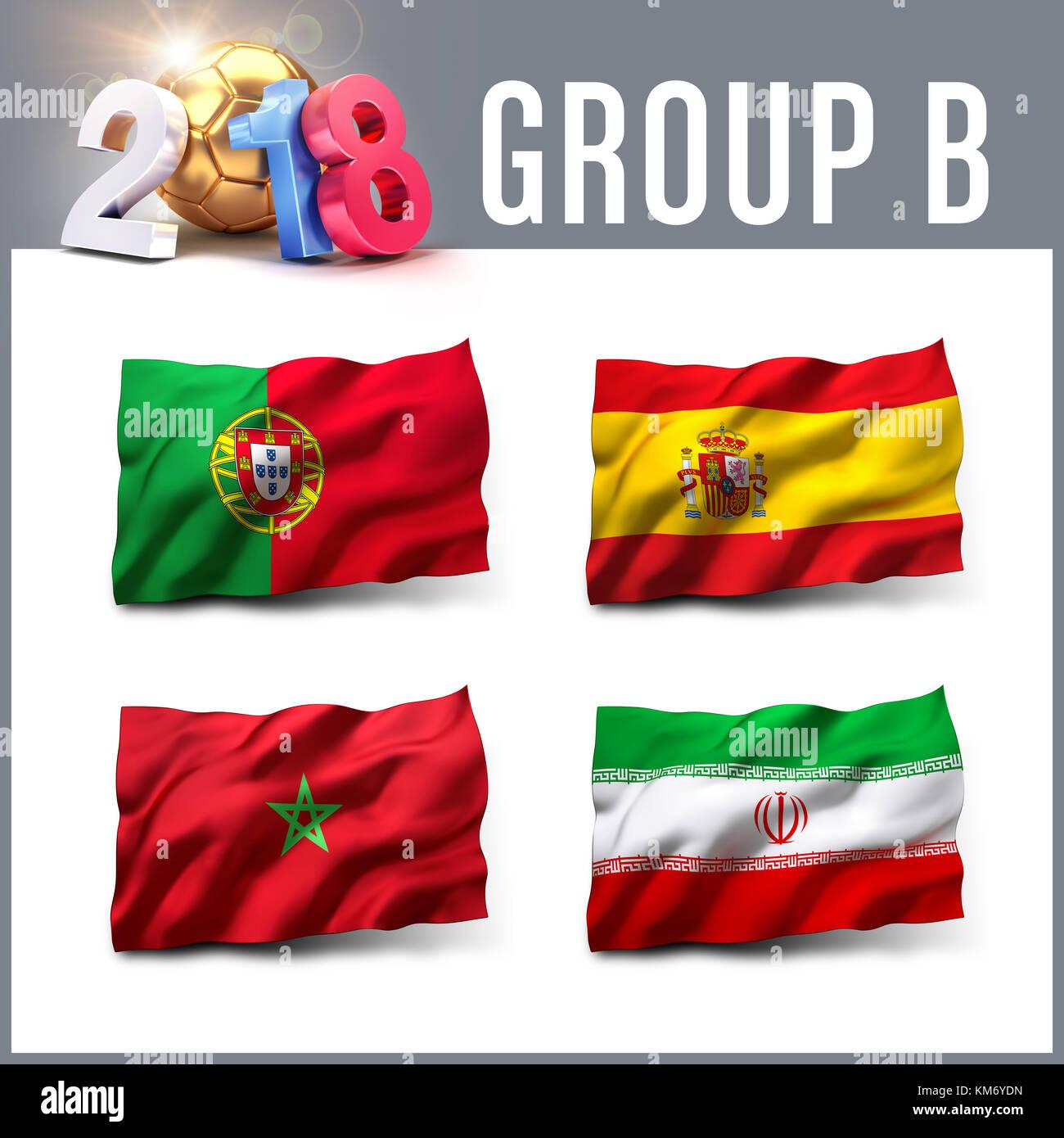 Rusia 2018 Clasificación grupo B con el equipo de banderas. Competición internacional de fútbol. Imagen De Stock