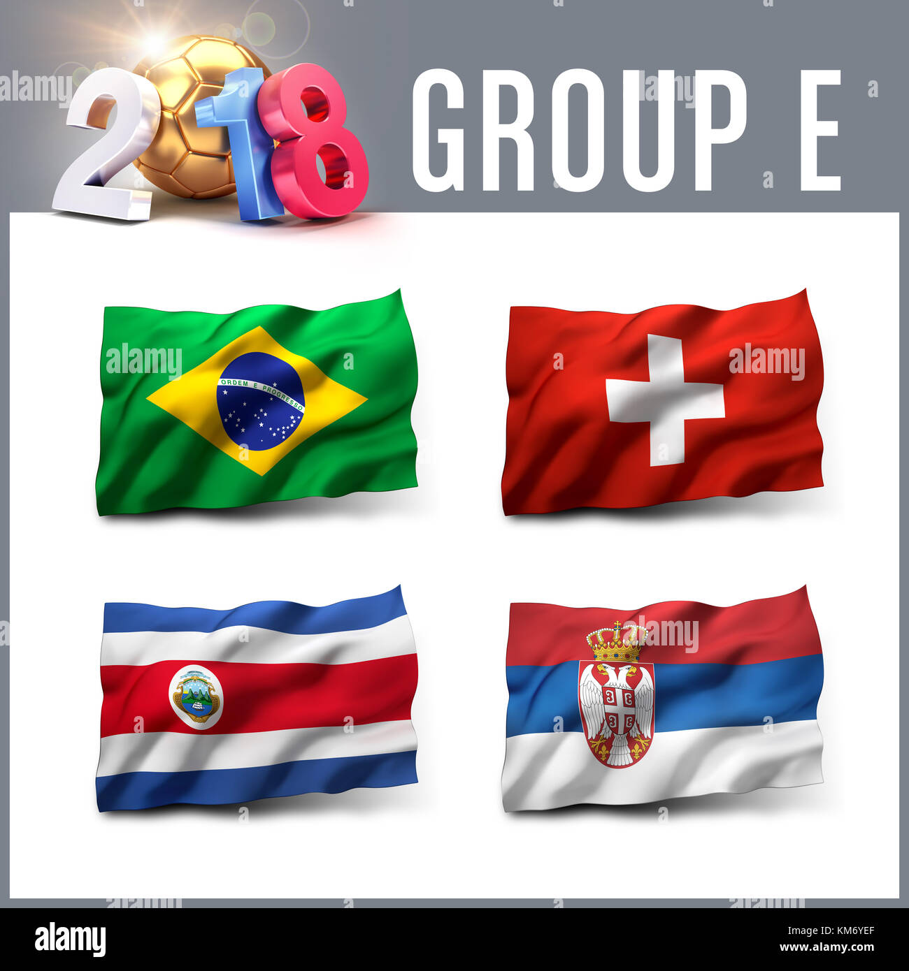 Rusia 2018 grupo de clasificación E con banderas del equipo. Competición internacional de fútbol. Imagen De Stock