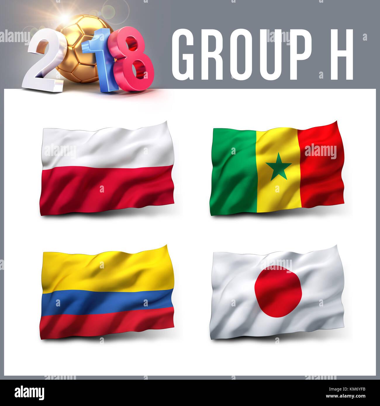 Rusia 2018 Grupo H de calificación con el equipo de banderas. Competición internacional de fútbol. Imagen De Stock