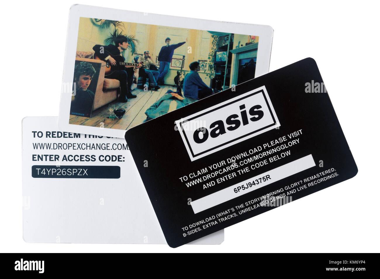 Oasis Album digital incluye tarjetas de descarga cuando usted compra un disco de vinilo Imagen De Stock