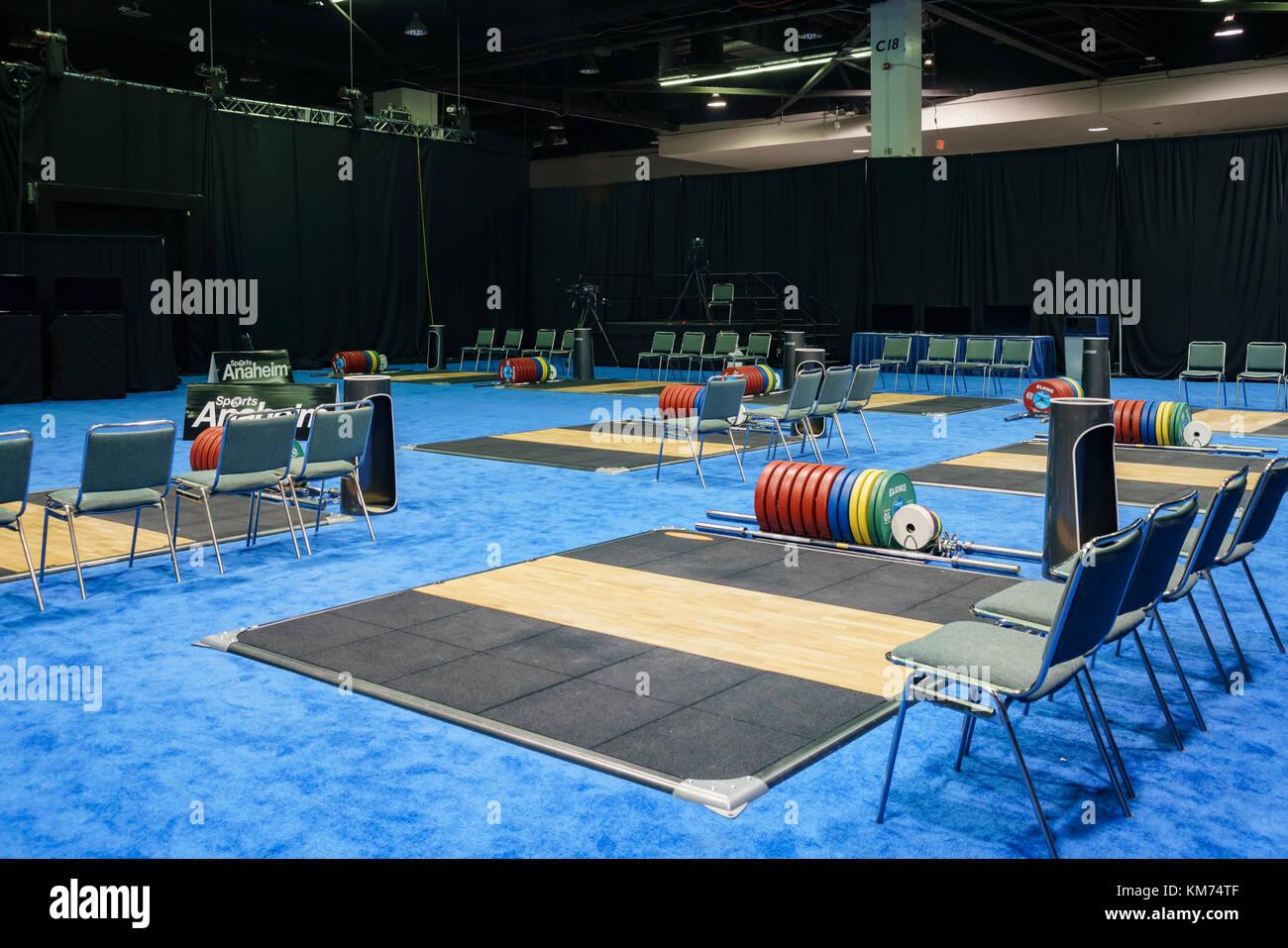 Anaheim, Nov 30, 2017 el área de práctica de campeonatos mundiales de la federación internacional Imagen De Stock