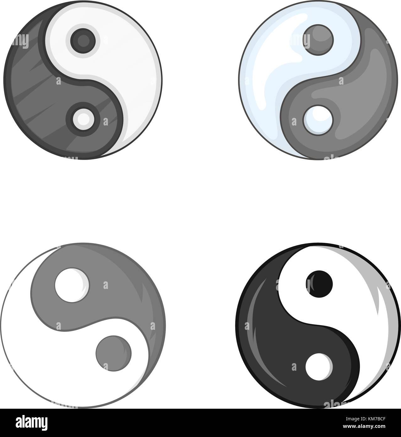 Símbolo Yin Yang Estilo De Dibujos Animados Ilustración Del Vector
