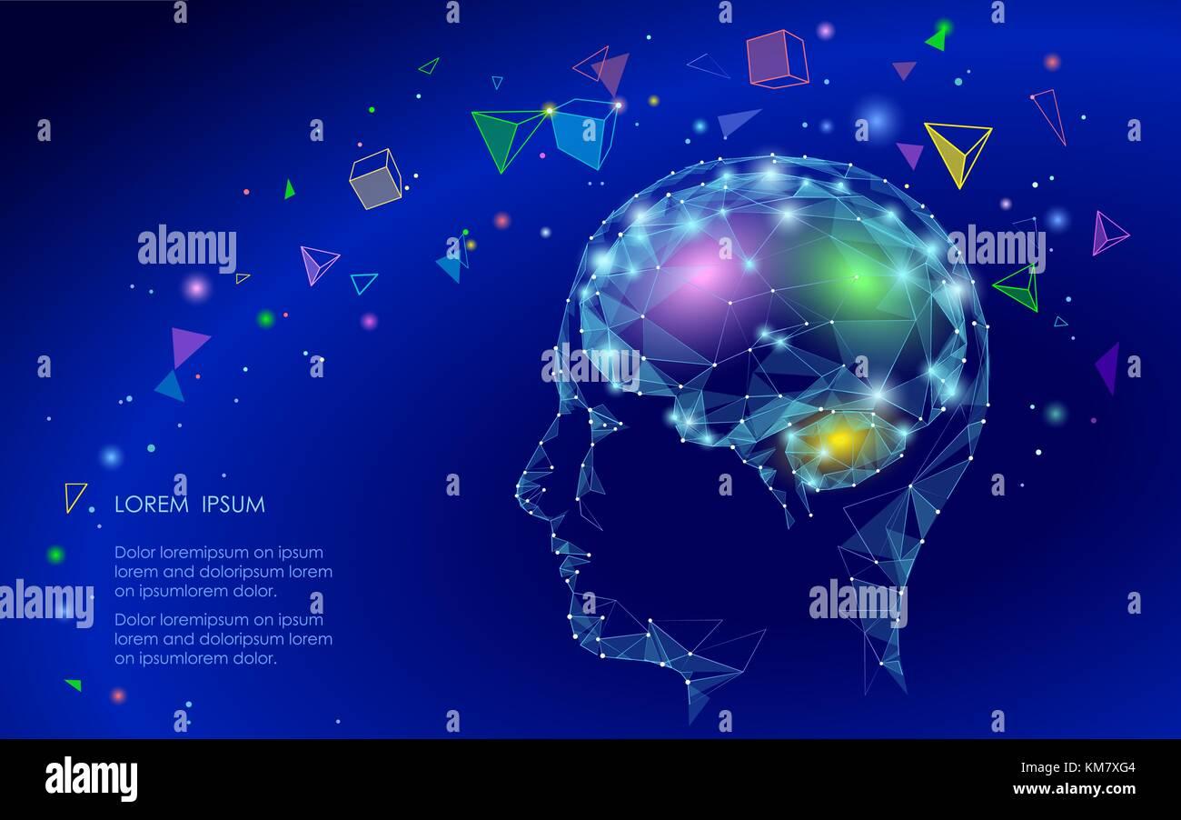Baja poli cerebro abstracto concepto de realidad virtual. geométricas formas poligonales triángulo mente Imagen De Stock