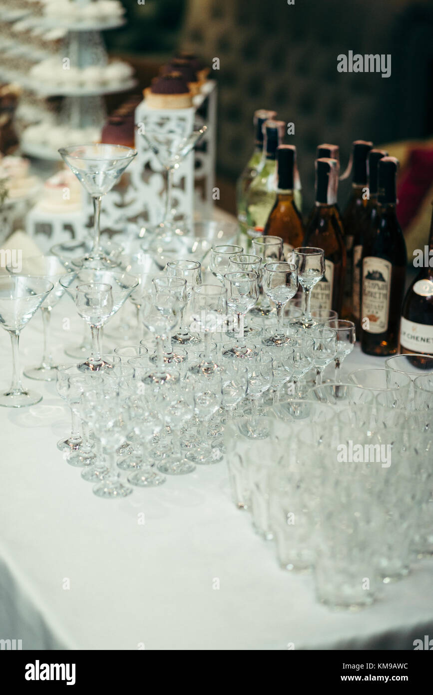 Different Alcohol Glasses Wedding Catering Imagenes De Stock