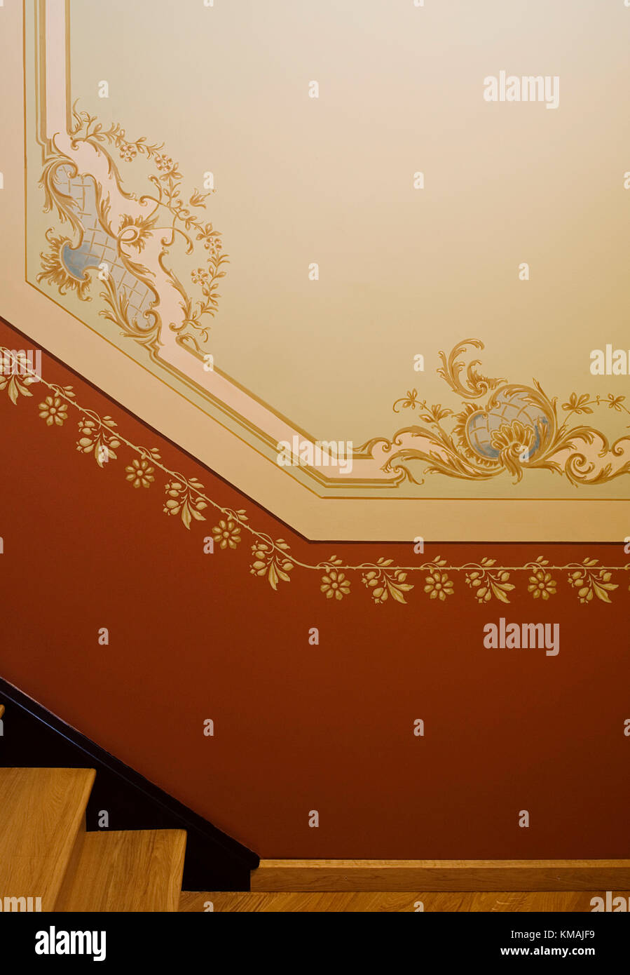 Wand, Dekoration, Gemälde, historisch, innen, Haus, tradición, Oldenburg, firme, Treppe Leuchte, Ornamento Imagen De Stock