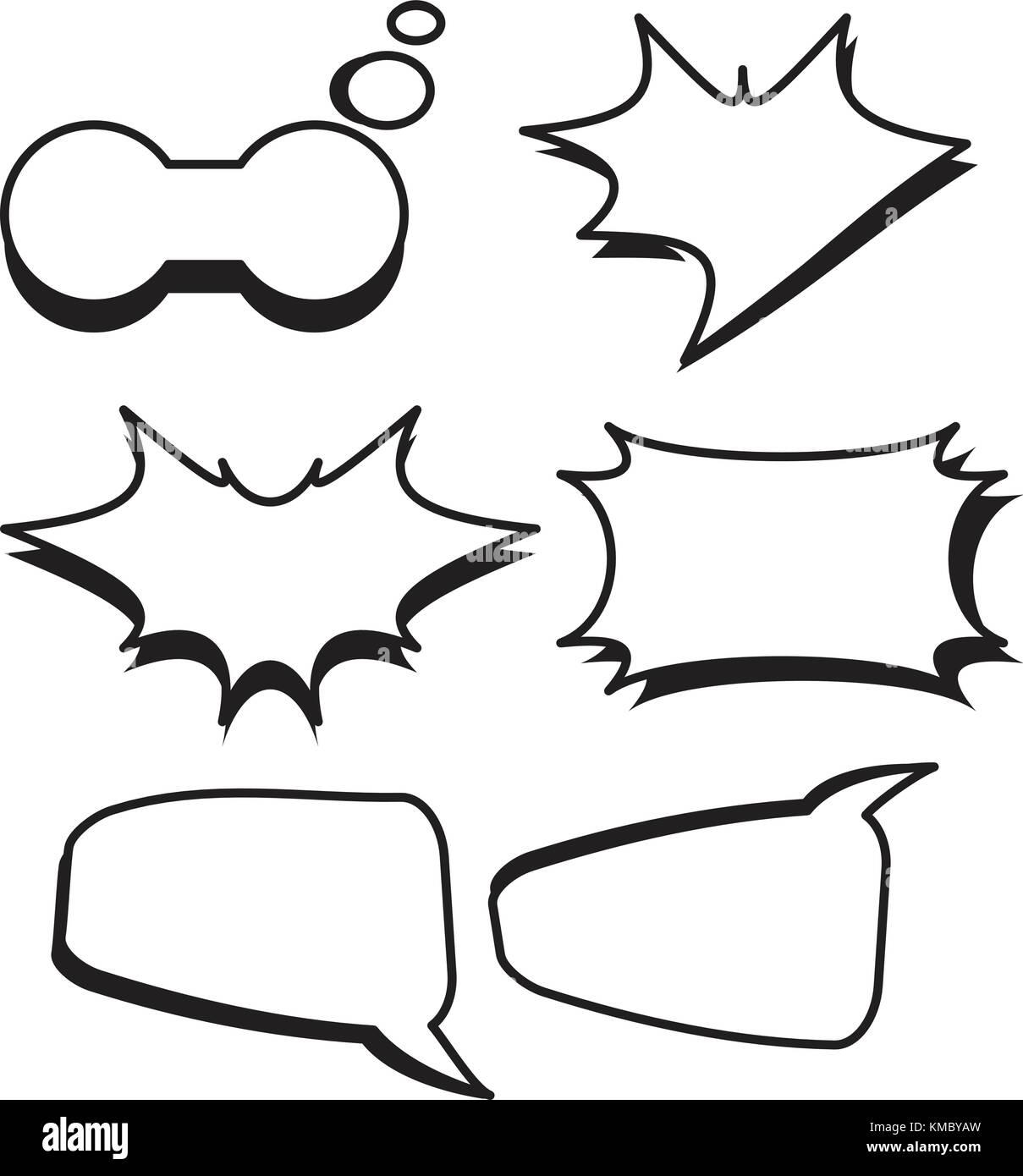 Dibujos Con Cuadros.Burbujas De Dibujos Animados Cuadros De Texto Con Texto Blanco