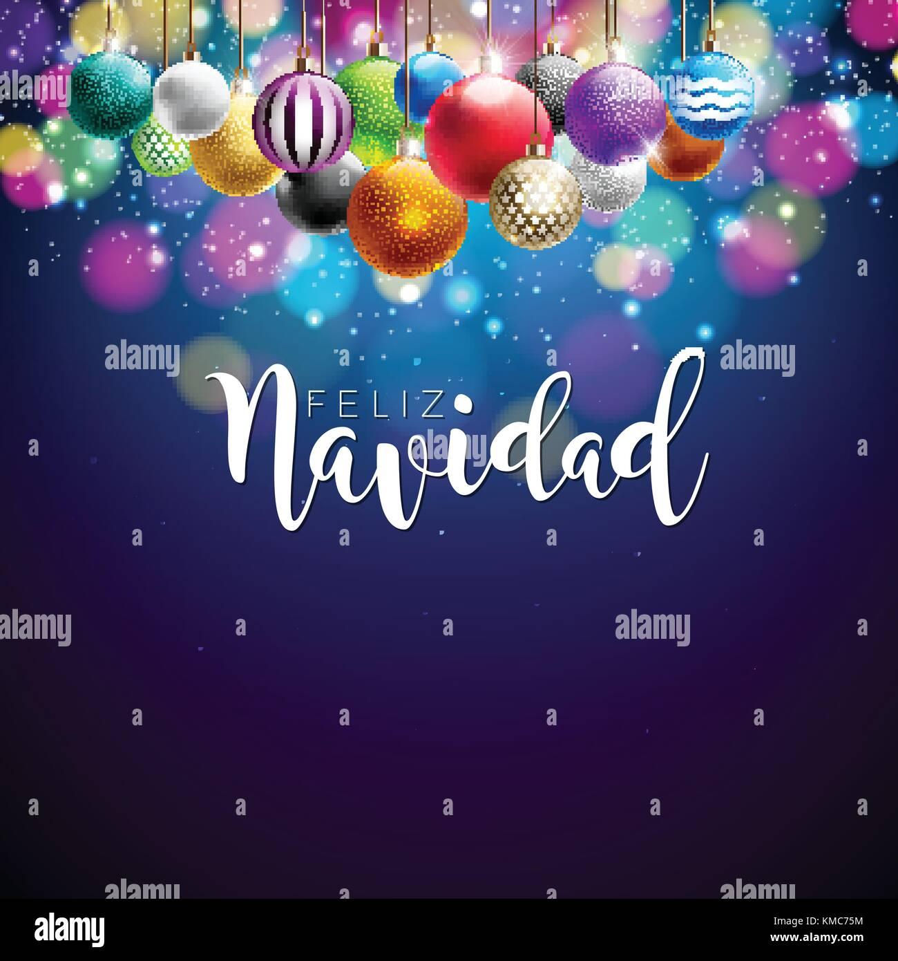 Ilustración de navidad con el español feliz navidad tipografía y coloridas bolas ornamentales sobre Imagen De Stock