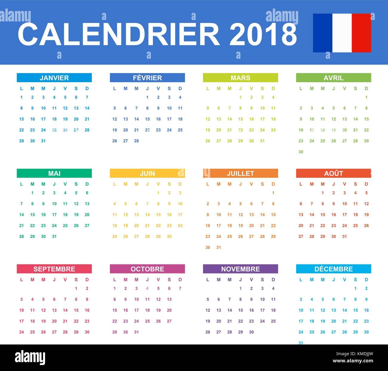 Calendario Frances.Calendario Frances Para 2018 Planificador Agenda O Agenda