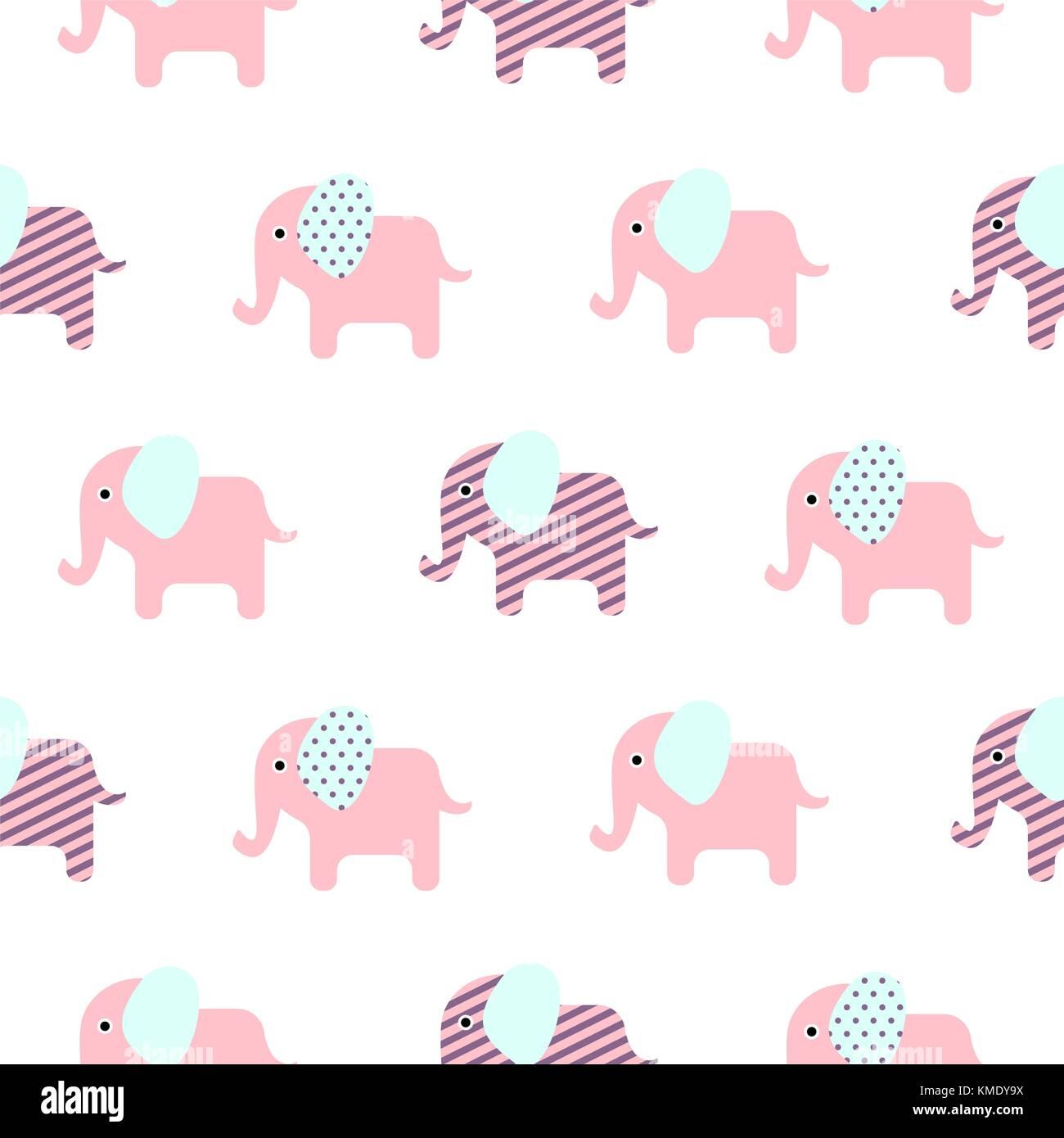 Cute Dibujos Animados Elefante Bebé Patrón Sin Fisuras Ilustración
