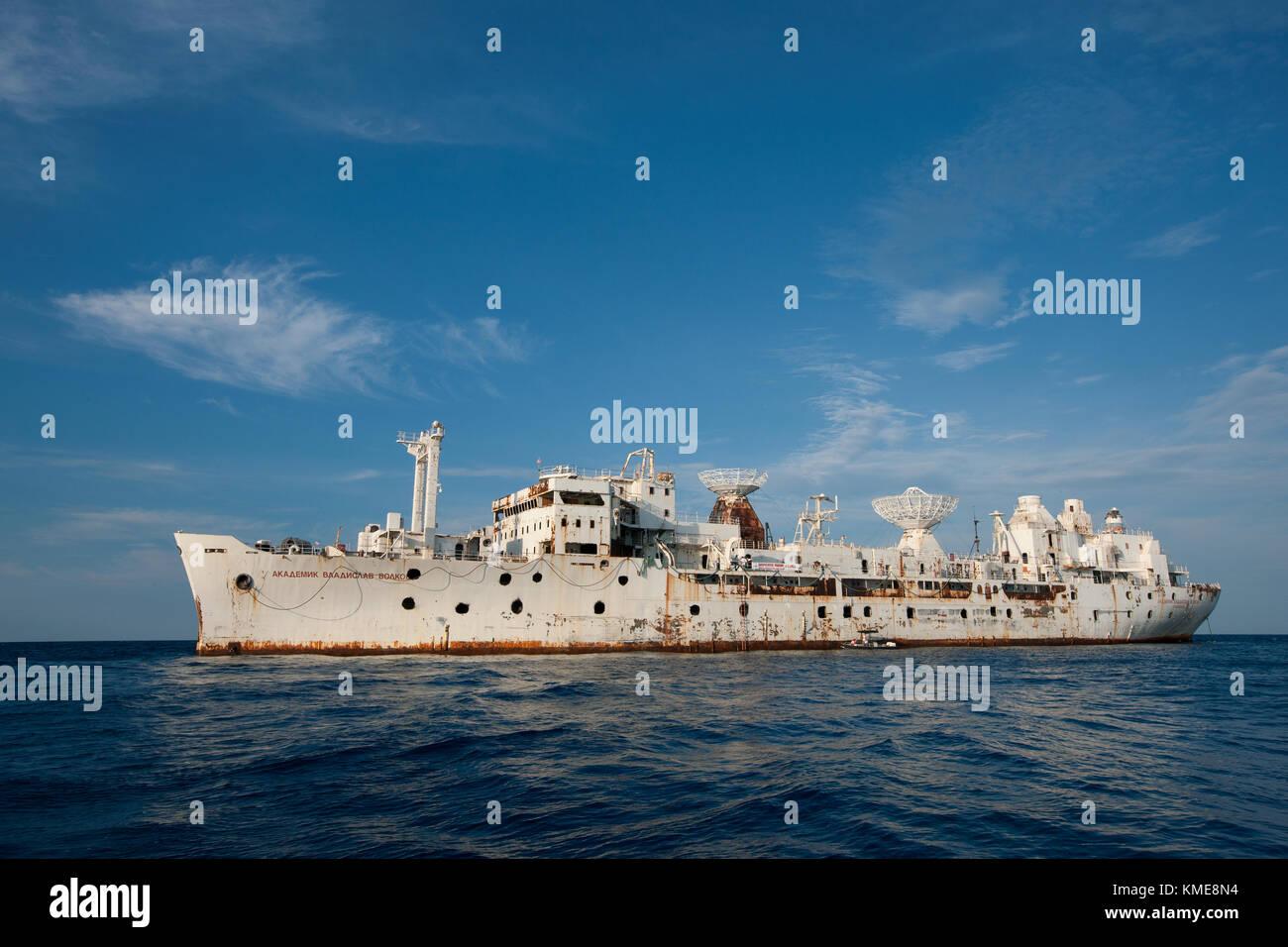 General hoyt vandenberg buque s. Como se prepara para el naufragio, a seis millas de la costa de Key West, Florida Keys. Foto de stock