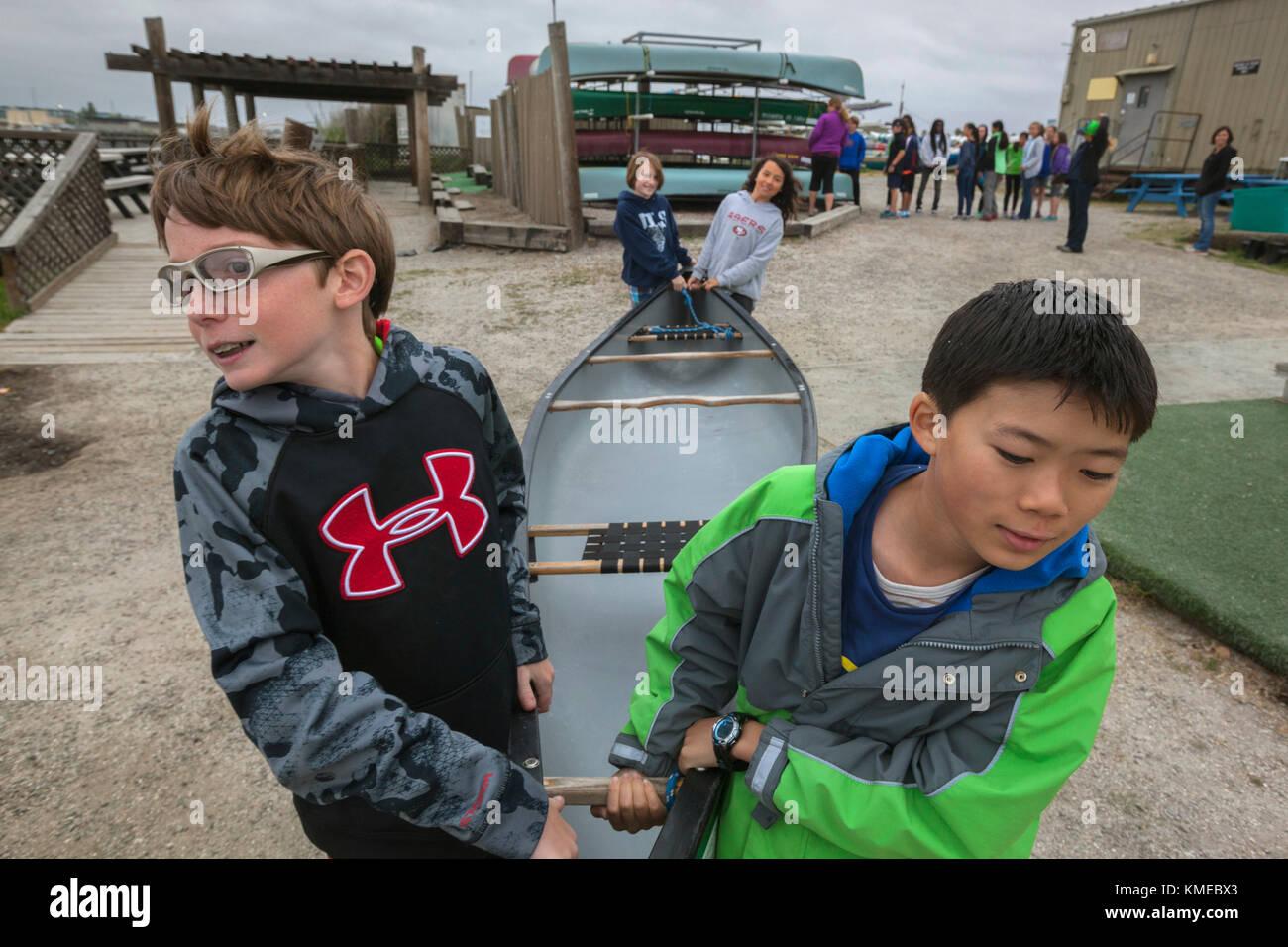 Canoas En sloughs programa de educación ambiental a través del instituto de ciencias del mar,REDWOOD CITY,ca.la Imagen De Stock