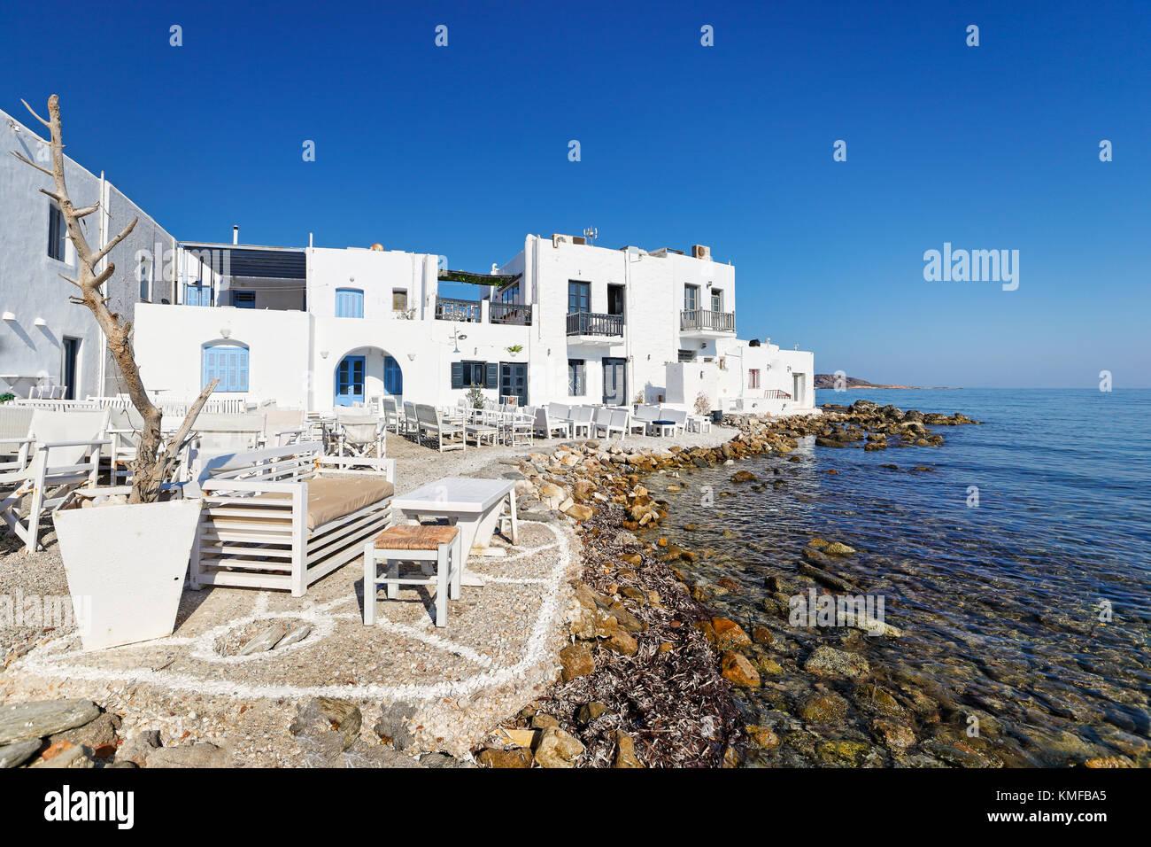 El tradicional pueblo de Naousa, en la isla Paros, Grecia Foto de stock