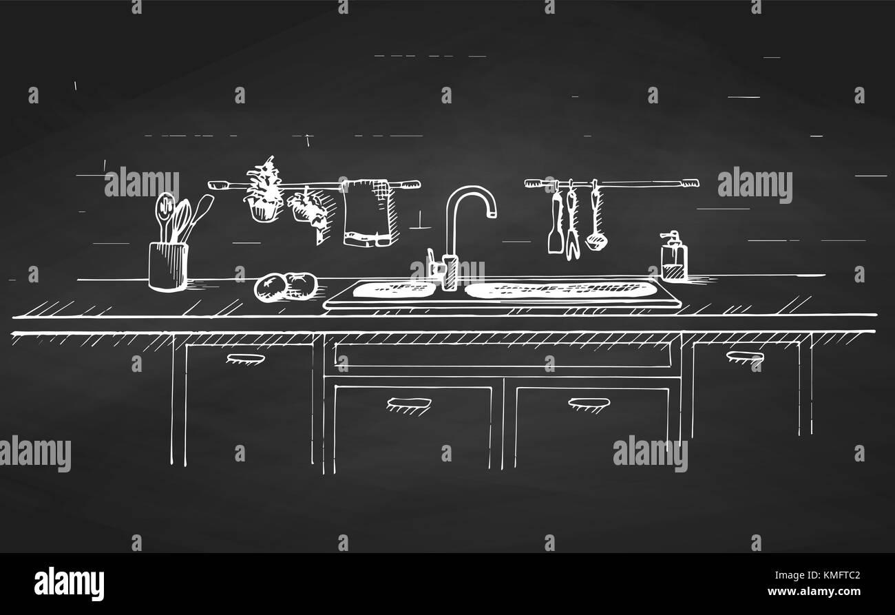 Fregadero encimera de cocina con fregadero y dibujado en - Encimera de pizarra ...