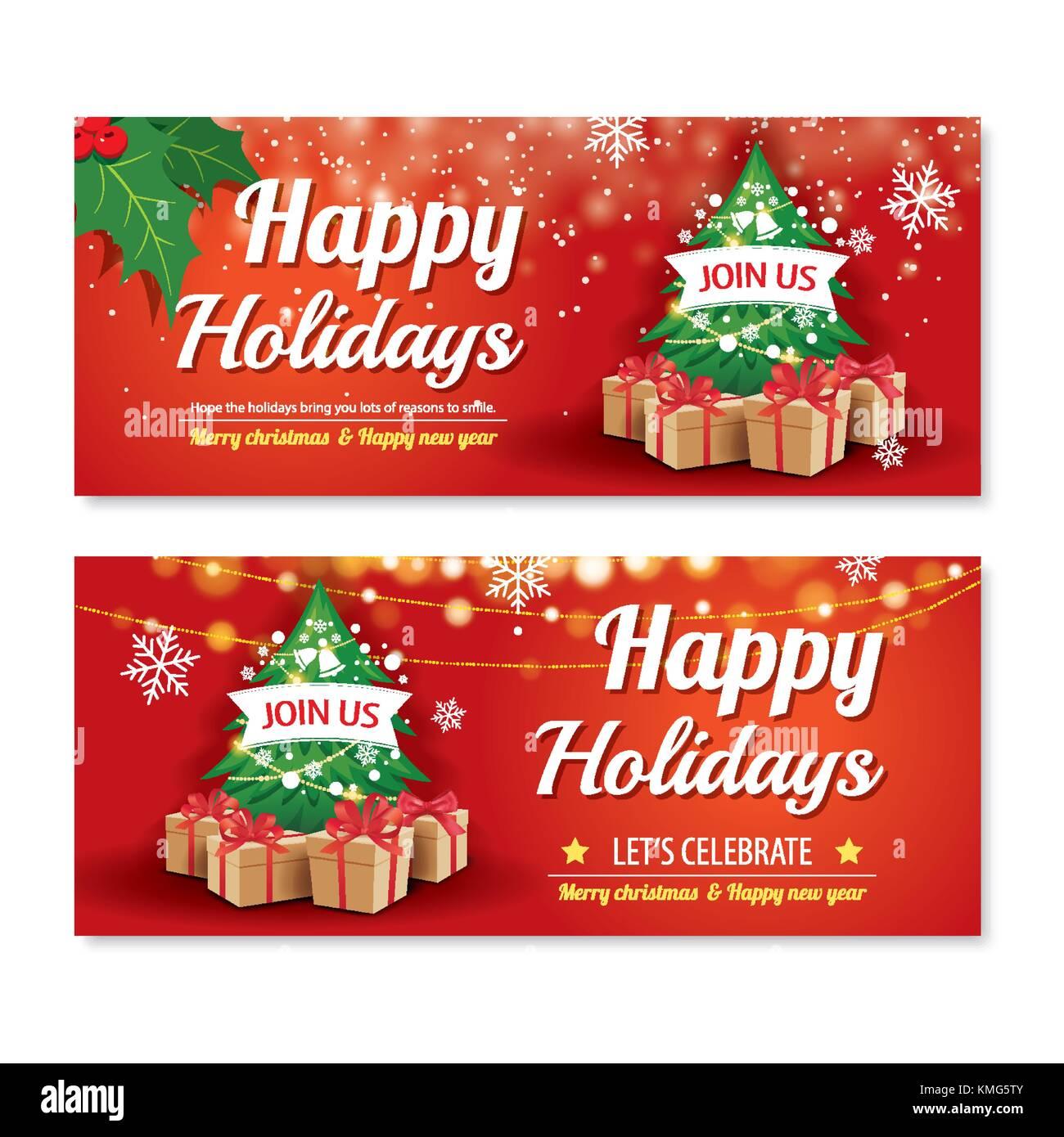 acb9063df4d0c Invitación feliz navidad parte poster banner y plantilla Diseño de tarjeta  sobre fondo rojo. felices fiestas y año nuevo con árbol y caja de regalo  para ...