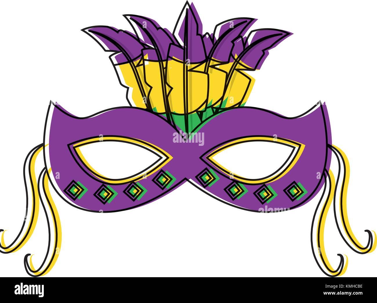 La máscara de carnaval de Mardi Gras adornados con plumas festival ...