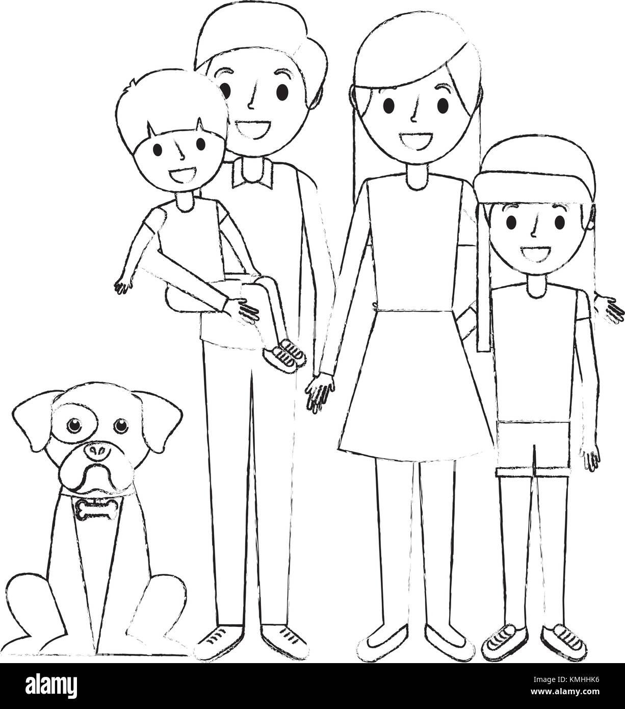 Linda Familia Papá Mamá Pequeño Hijo E Hija A Su Perro Ilustración