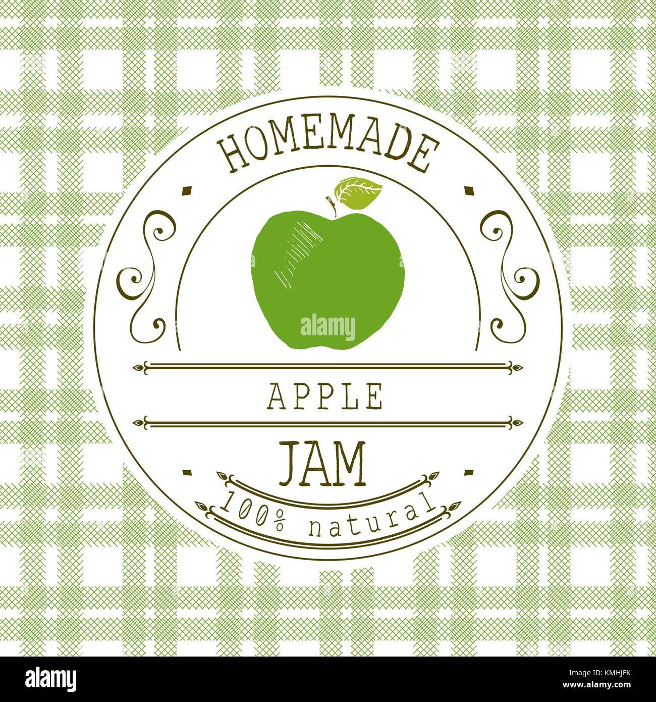 Plantilla de diseño de etiqueta de atasco. Para Postre de manzana ...