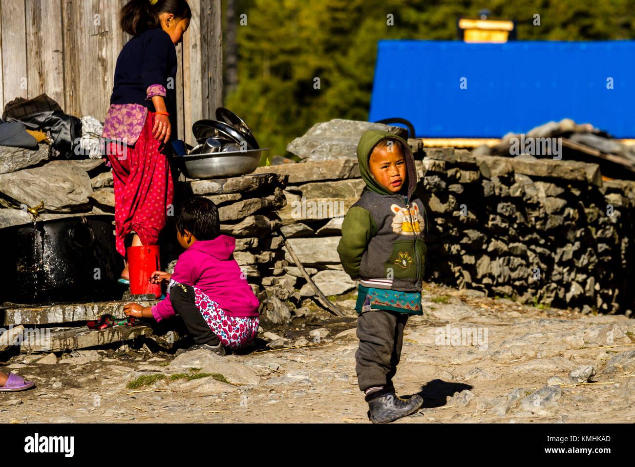 Los niños nepaleses lavando los platos cerca de su hogar. Aldea de montaña de Chame, Nepal, Himalaya. Imagen De Stock