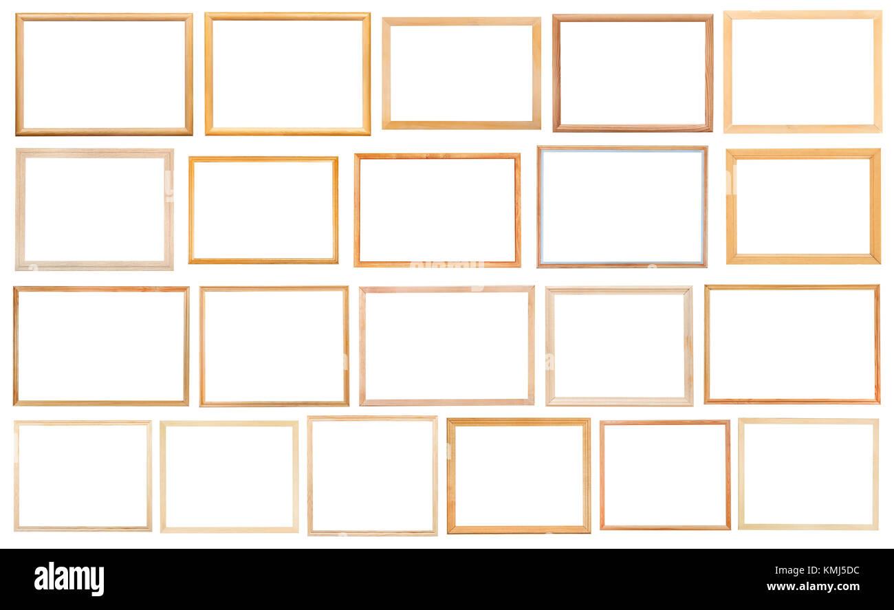Conjunto de marcos de madera estrechas simple con recortar el lienzo ...