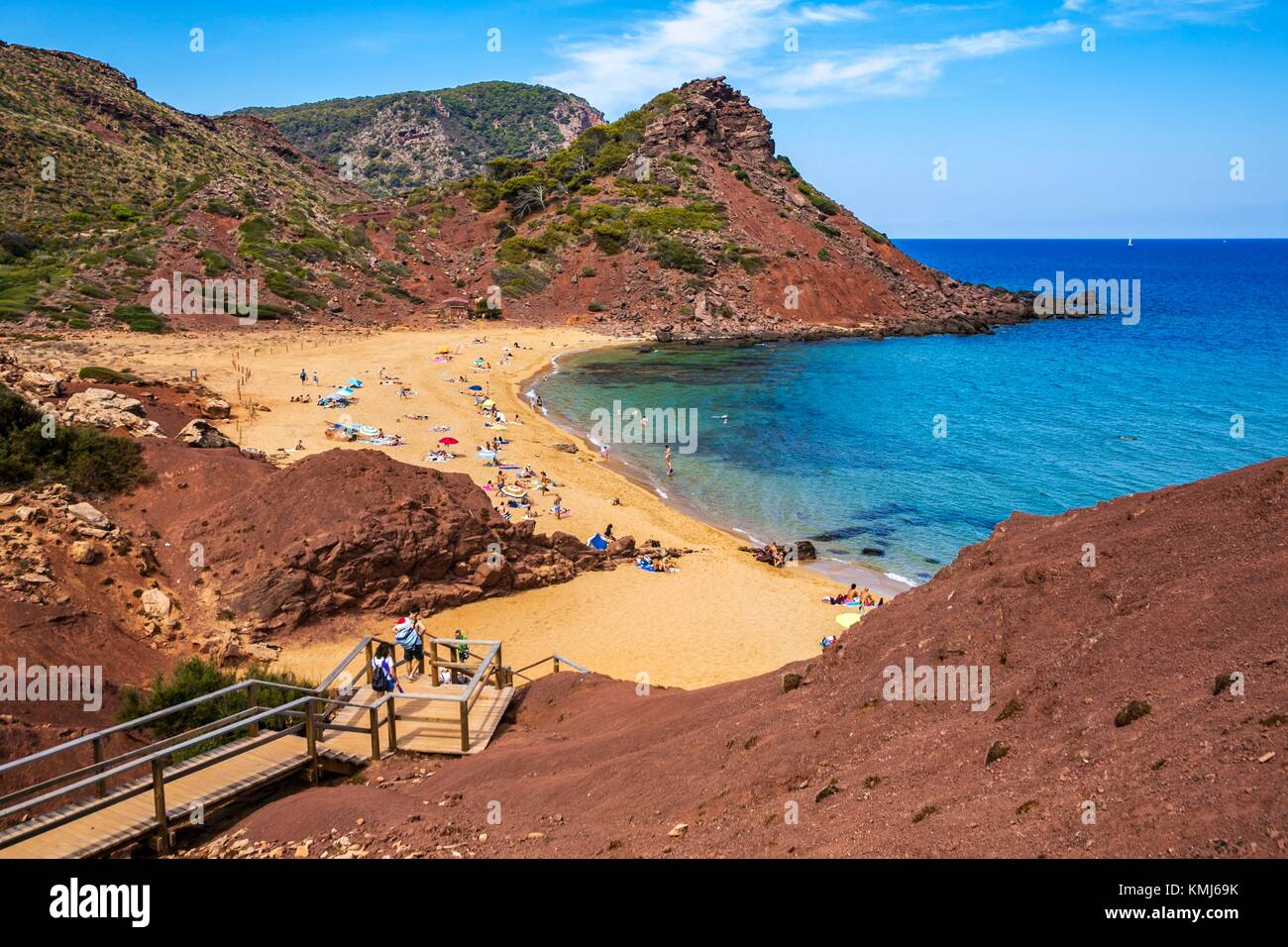 Playa Cala Pilar. El municipio de Ciutadella de Menorca. Menorca. Islas Baleares. España Imagen De Stock