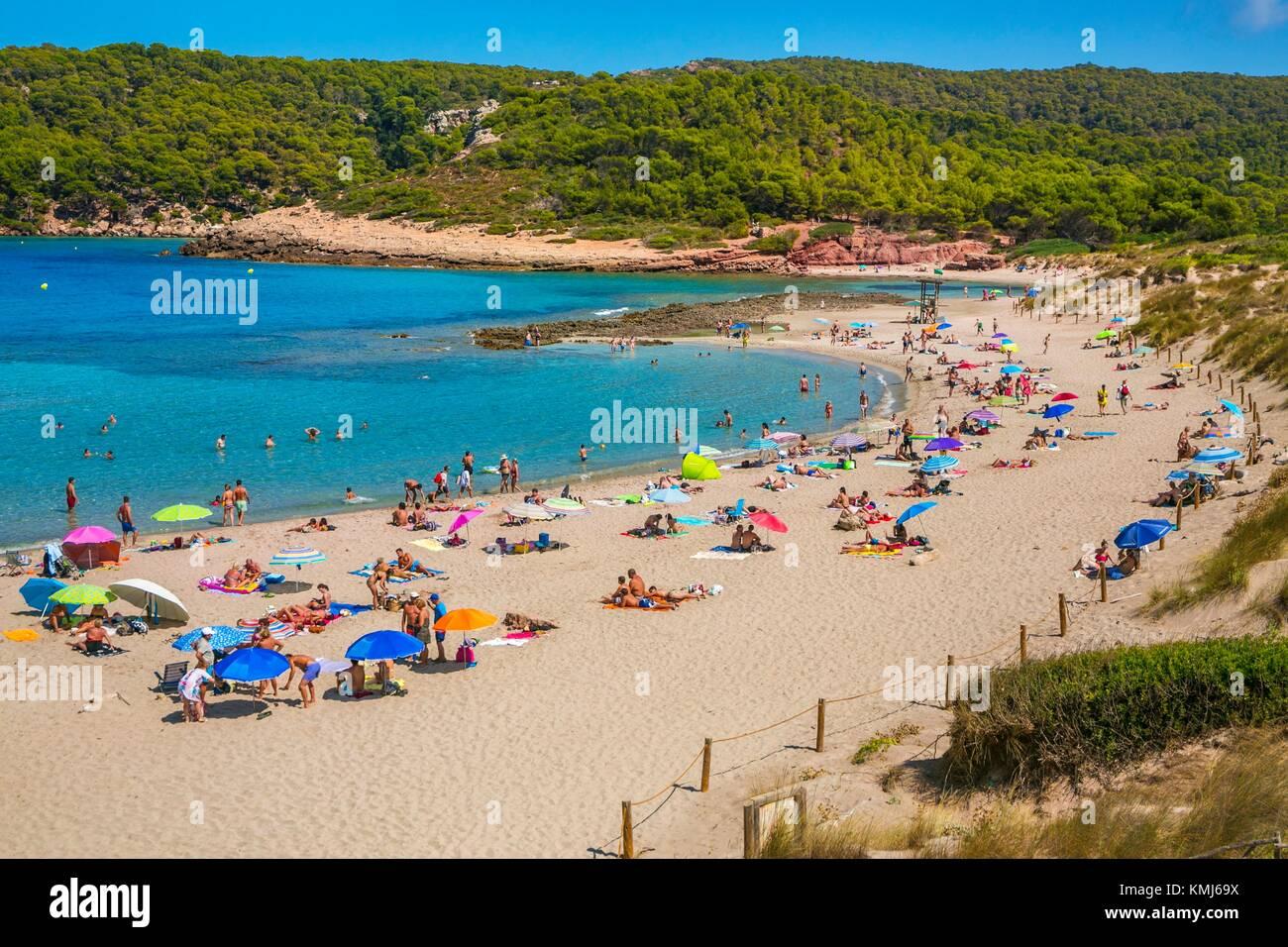 Playa de Cala Algaiarens. Es Tancats playa. El municipio de Ciutadella de Menorca. Menorca. Islas Baleares. España Imagen De Stock