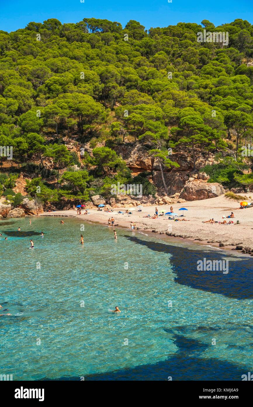 Playa de Cala Algaiarens. Es Bot playa. El municipio de Ciutadella de Menorca. Menorca. Islas Baleares. España Imagen De Stock
