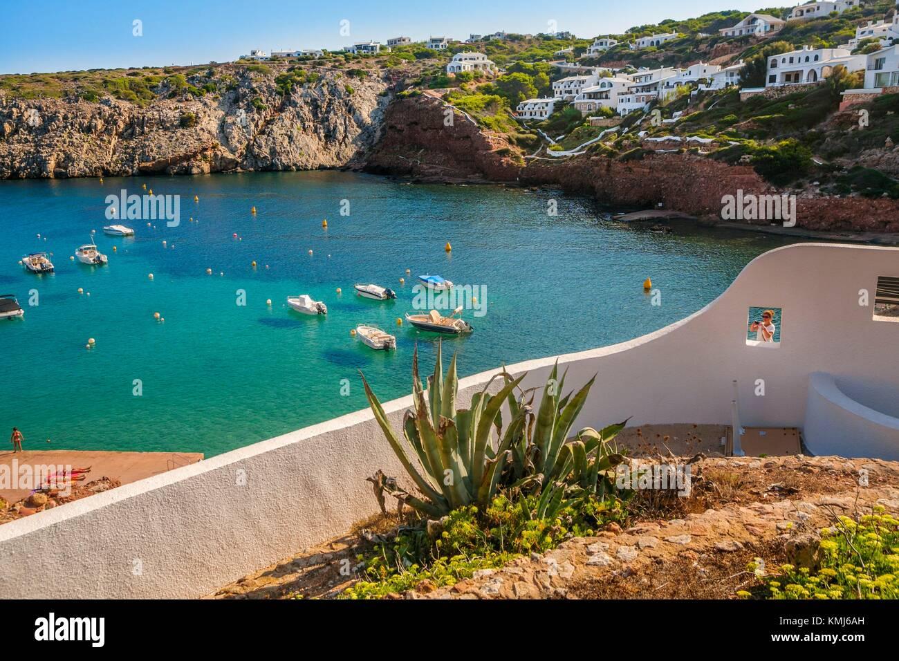 La Bahía de Cala Morell. El municipio de Ciutadella de Menorca. Menorca. Islas Baleares. España Imagen De Stock
