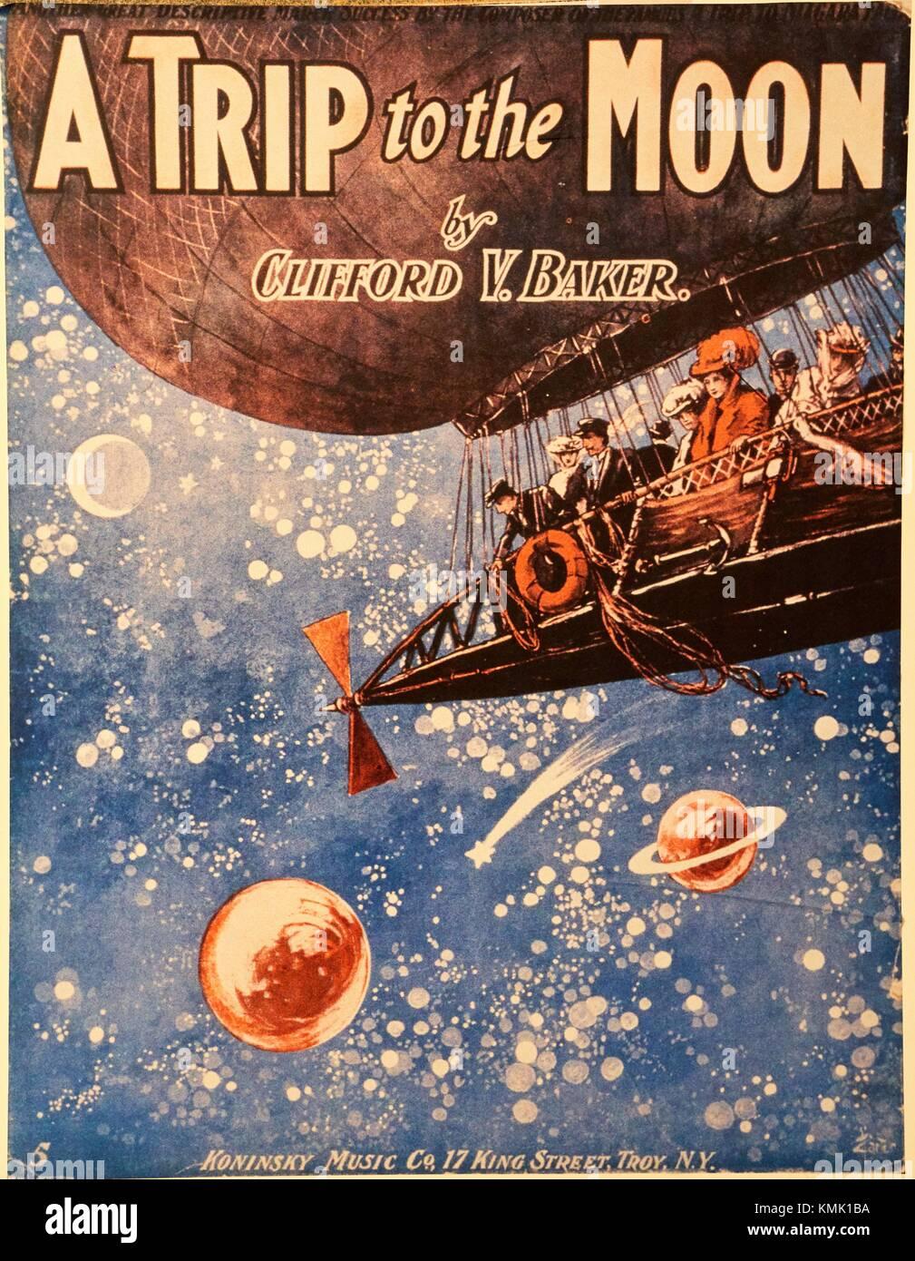 Fiebre lunar de la Belle Epoque, un viaje a la Luna, 1907, Baker, el Smithsonian, la exhibición de la Biblioteca Imagen De Stock