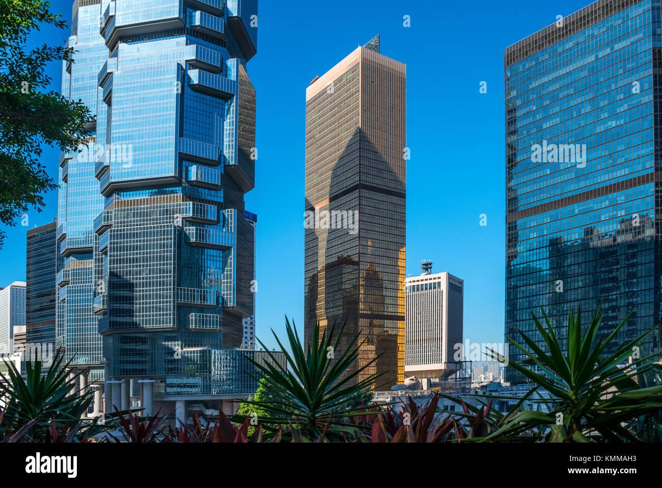 El Lippo Building, el Lejano Oriente y el Centro de Finanzas Torre del Almirantazgo, Hong Kong Imagen De Stock