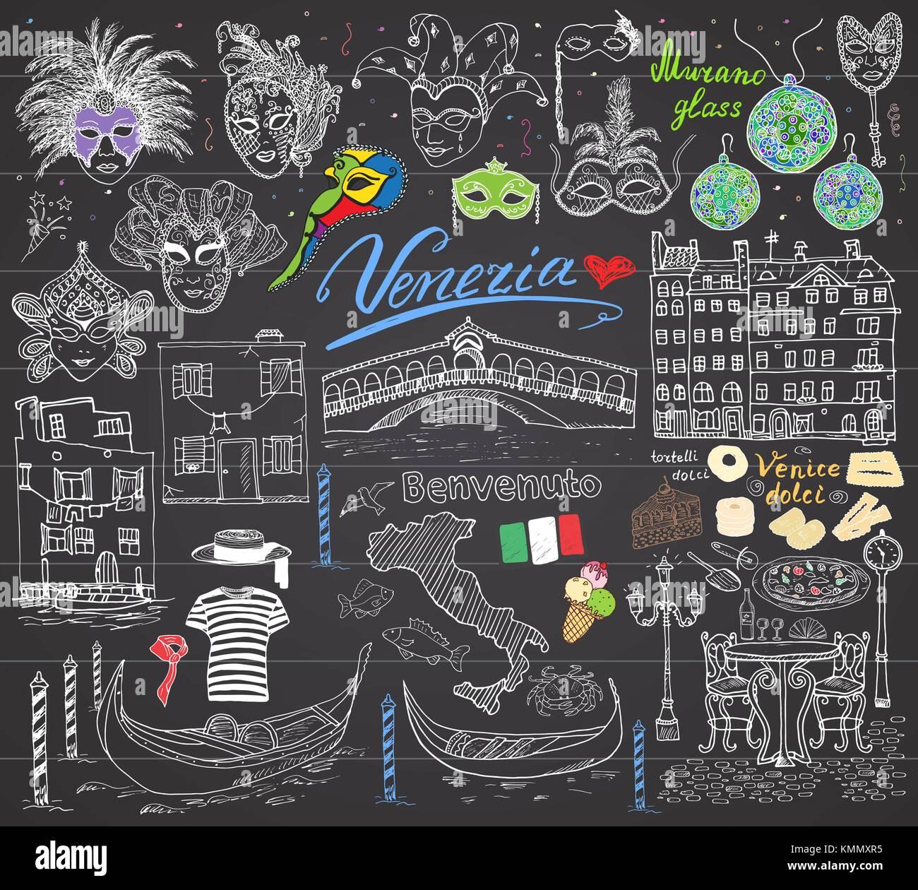 Venecia Italia Sketch Elementos Dibujadas A Mano Con Bandera - Vestir-casas
