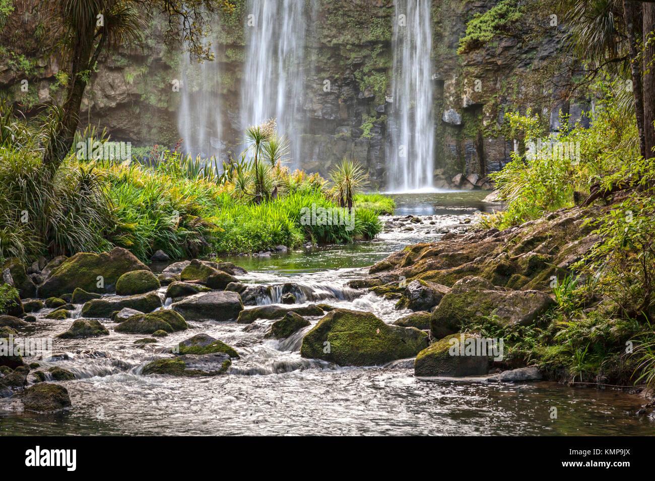 El Río Hatea debajo de las cataratas en Whangarei en Northland, Nueva Zelanda. Foto de stock
