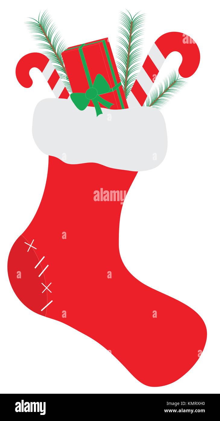 Calcetín de Navidad o el almacenamiento con gifs o presenta aislado sobre fondo blanco. Ornamento tradicional Imagen De Stock