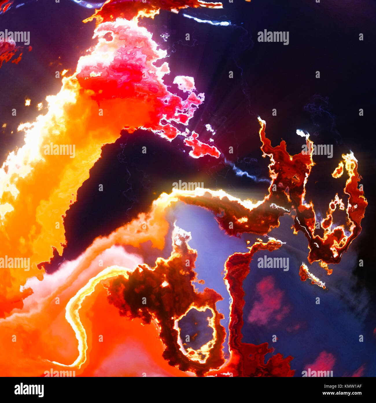 Llamas, nubes rojo caliente, ilustración de fondo abstracto Foto de stock