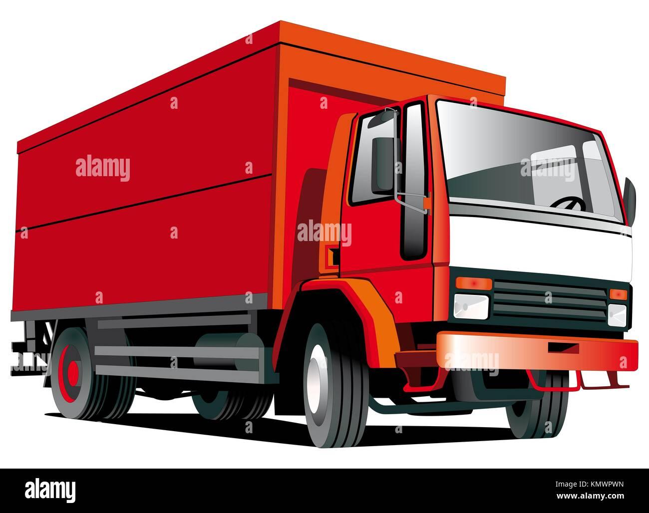 Detalle de imagen vectorial aislado camión rojo sobre fondo blanco. Foto de stock