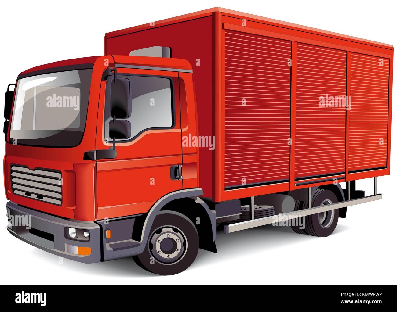 Detallada imagen vectorial de la camioneta roja, aislado sobre fondo blanco contiene degradados y mezclas Foto de stock