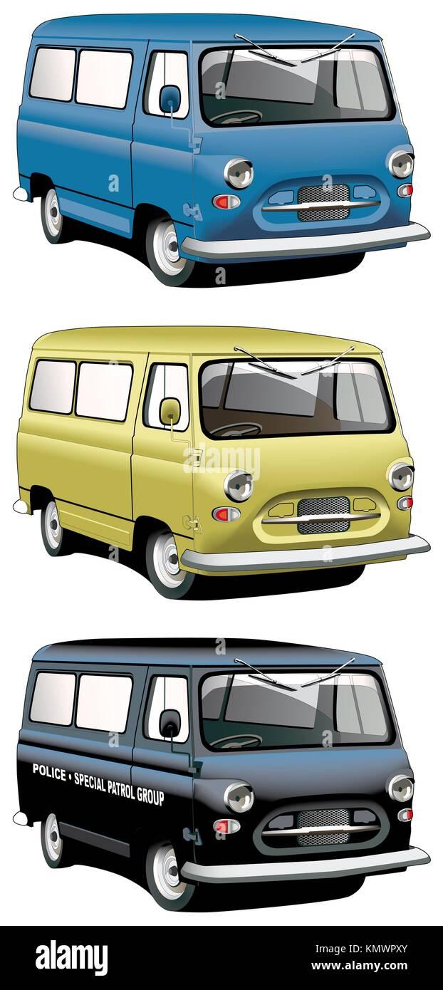 Conjunto de iconos vectoriales de inglés antiguo furgonetas con volante del lado derecho aislado sobre fondo blanco van es cada archivo en capas separadas Foto de stock