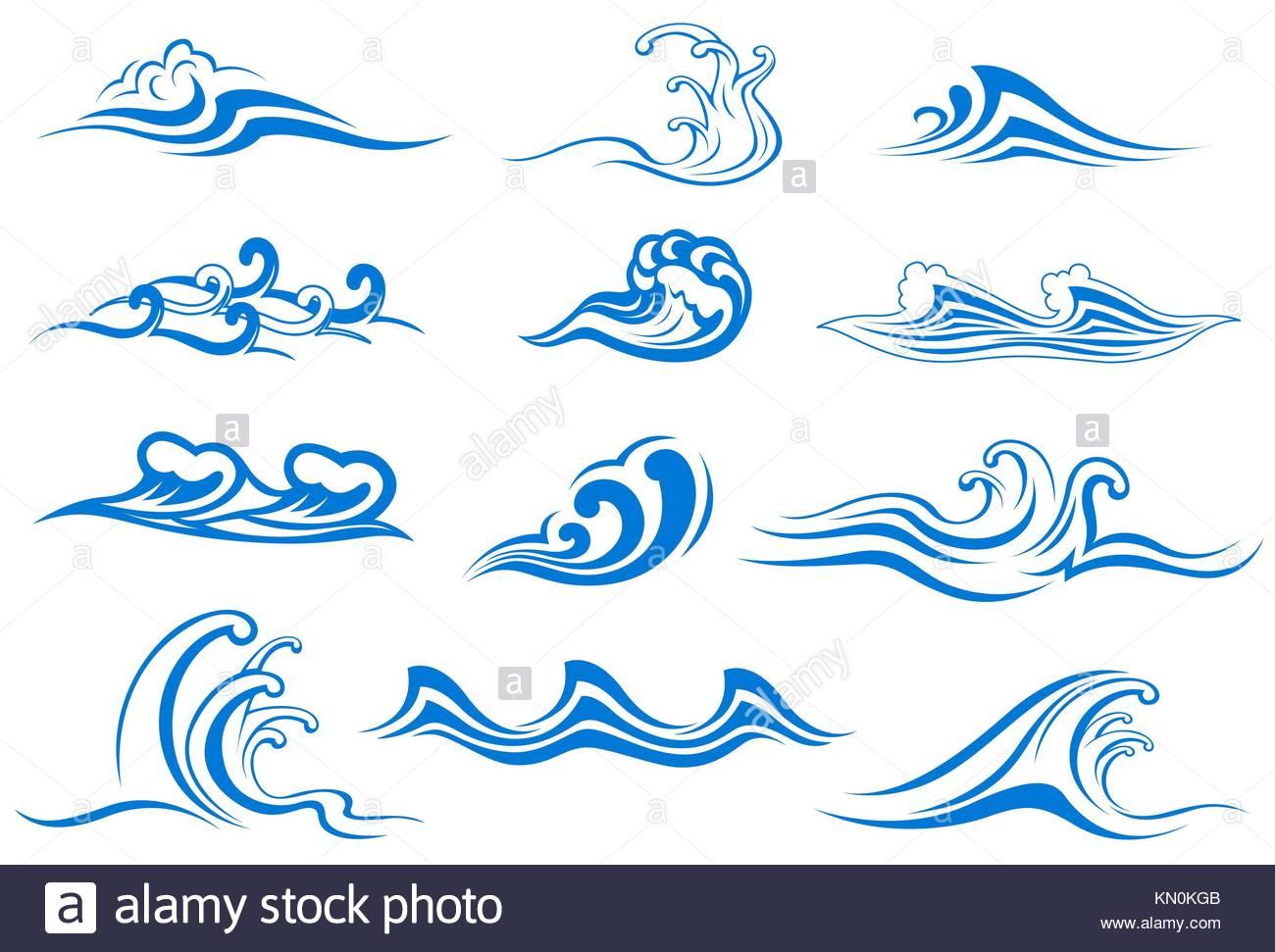 Conjunto de s mbolos de ola para dise o aislado en blanco for Vater japones