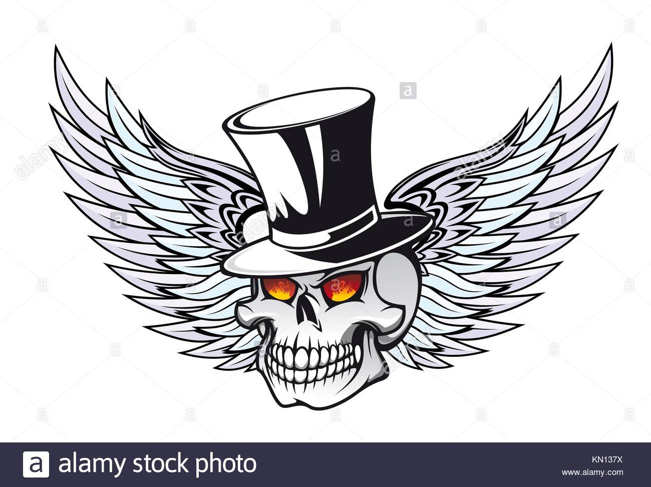 Calavera Con Alas En Black Hat Para Diseño De Tatuaje Foto Imagen