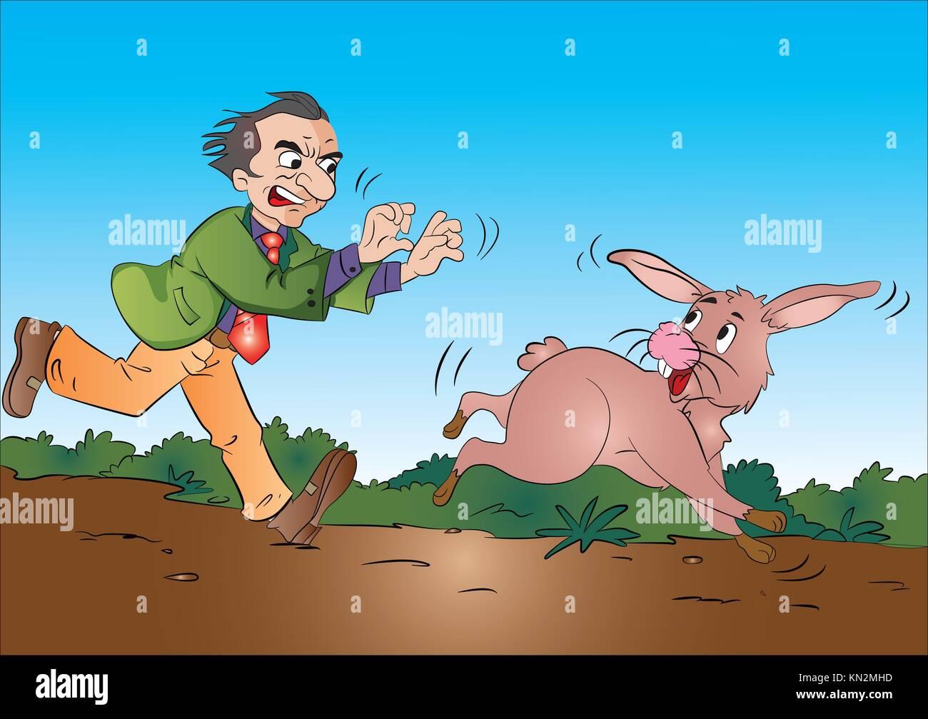Hombre corriendo tras un conejo, ilustración vectorial Foto de stock