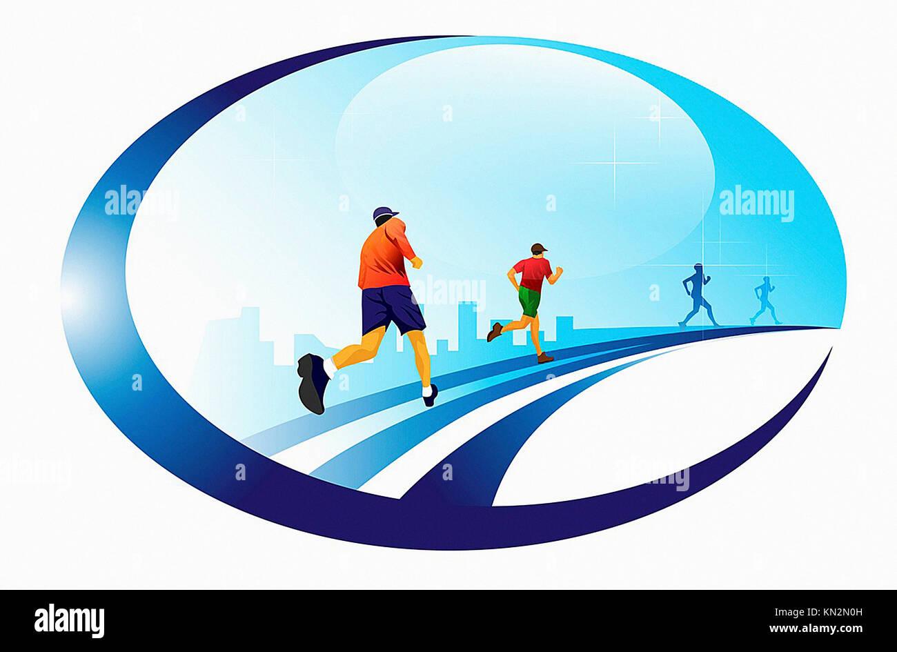 En marcha, 4 corredores masculinos, ilustración vectorial Imagen De Stock