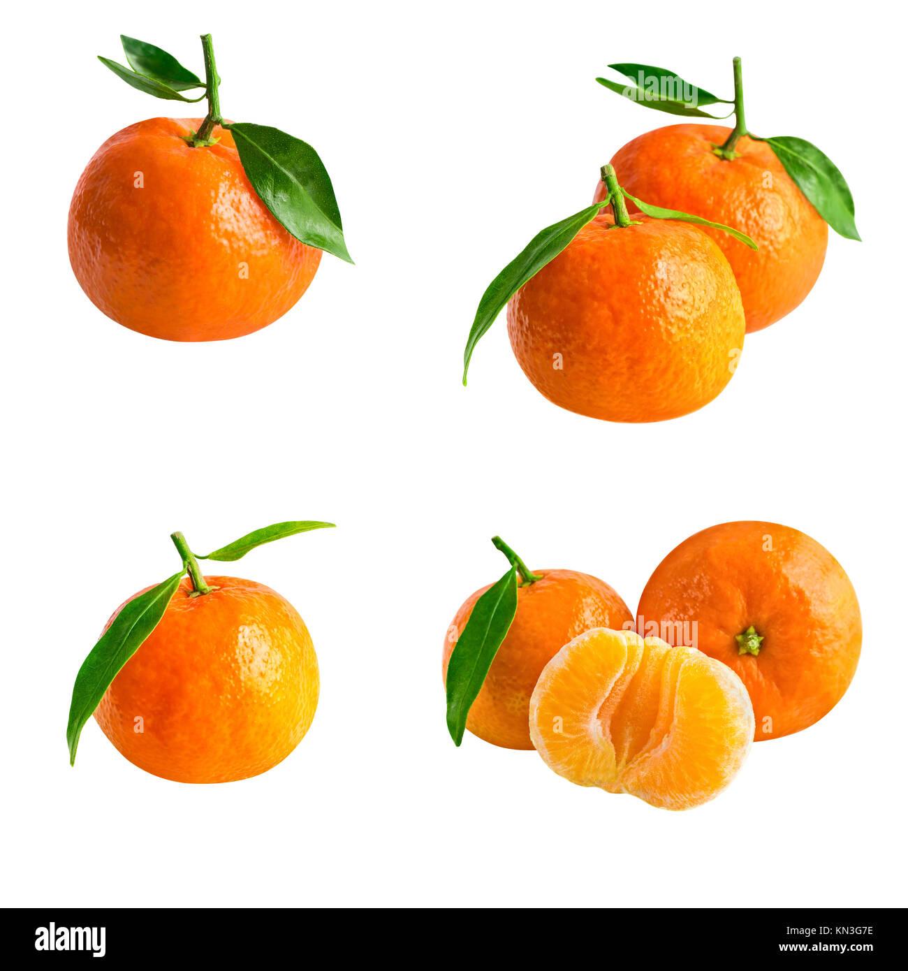 Mandarinas aislados o mandarina. Colección de las mandarinas frescas con  leaf aislado en blanco f819f0ea573f