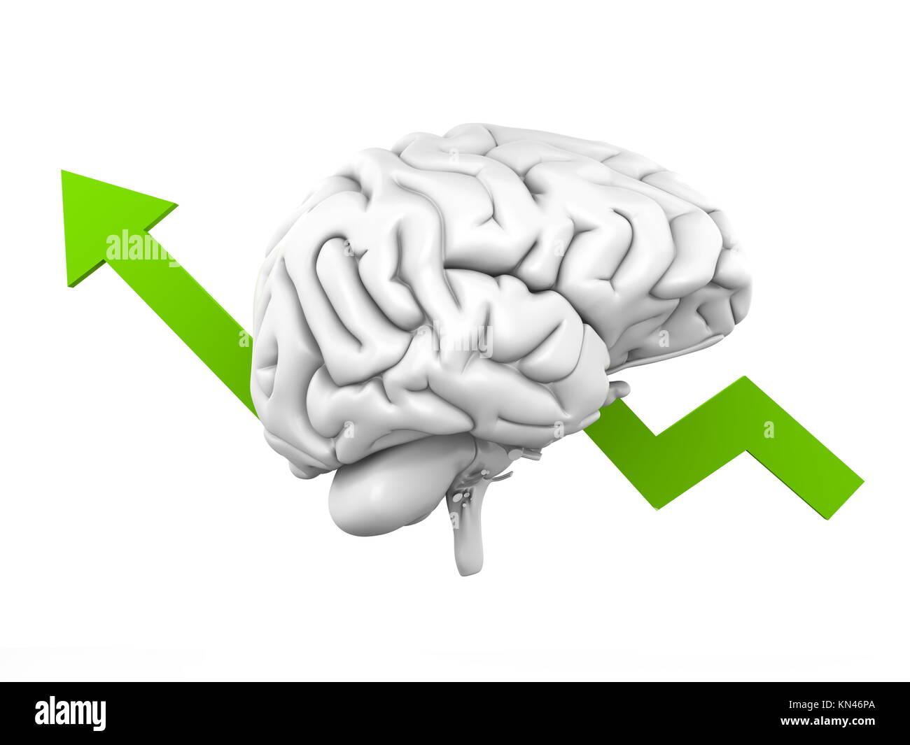Inteligencia creciente. Ilustración 3D. Imagen De Stock