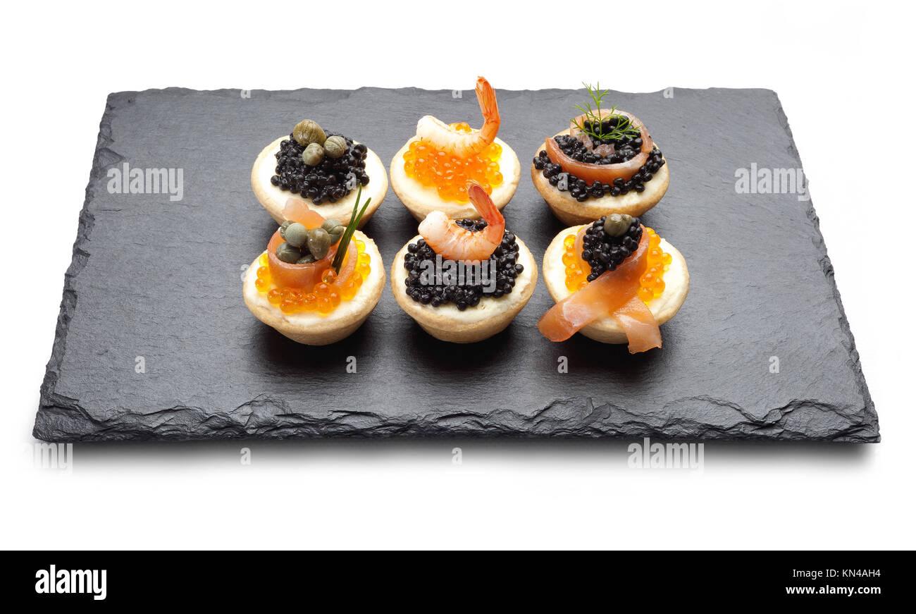 Canapés de caviar. Imagen De Stock
