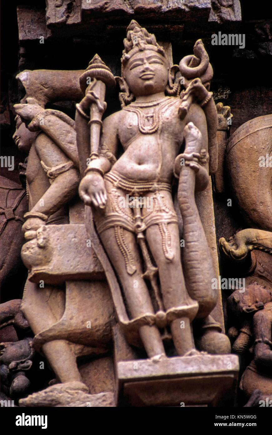 Representación de Shiva en el Templo Devi Jagadambi sX. Khajuraho. En Madhya Pradesh. La India. Asia. Foto de stock