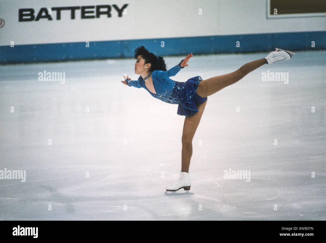 Kristi yamaguchi (USA) compitiendo en el campeonato mundial de 1989. Imagen De Stock