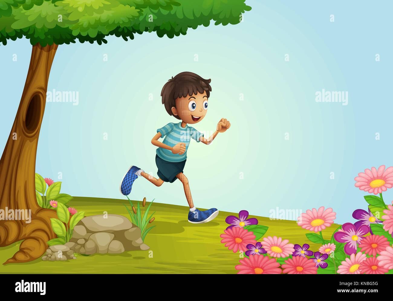 Ilustración De Un Niño Corriendo En Un Jardín
