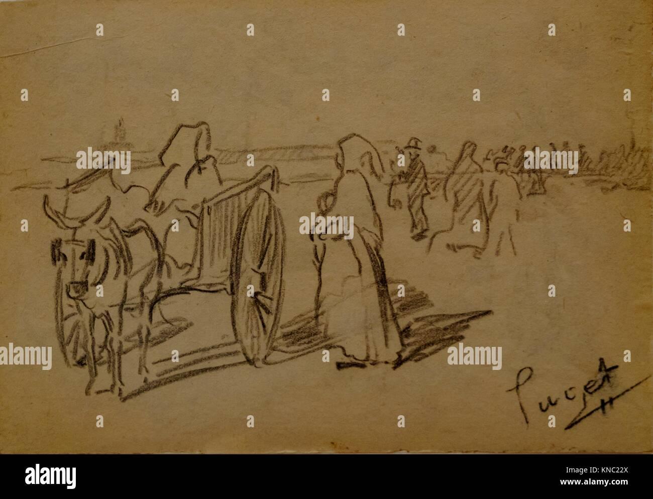 Carro con figuras, Narcís Puget Viñas, Carboncillo dibujo, Museo Puget, casa noble de Can LLaudis , Dalt Imagen De Stock