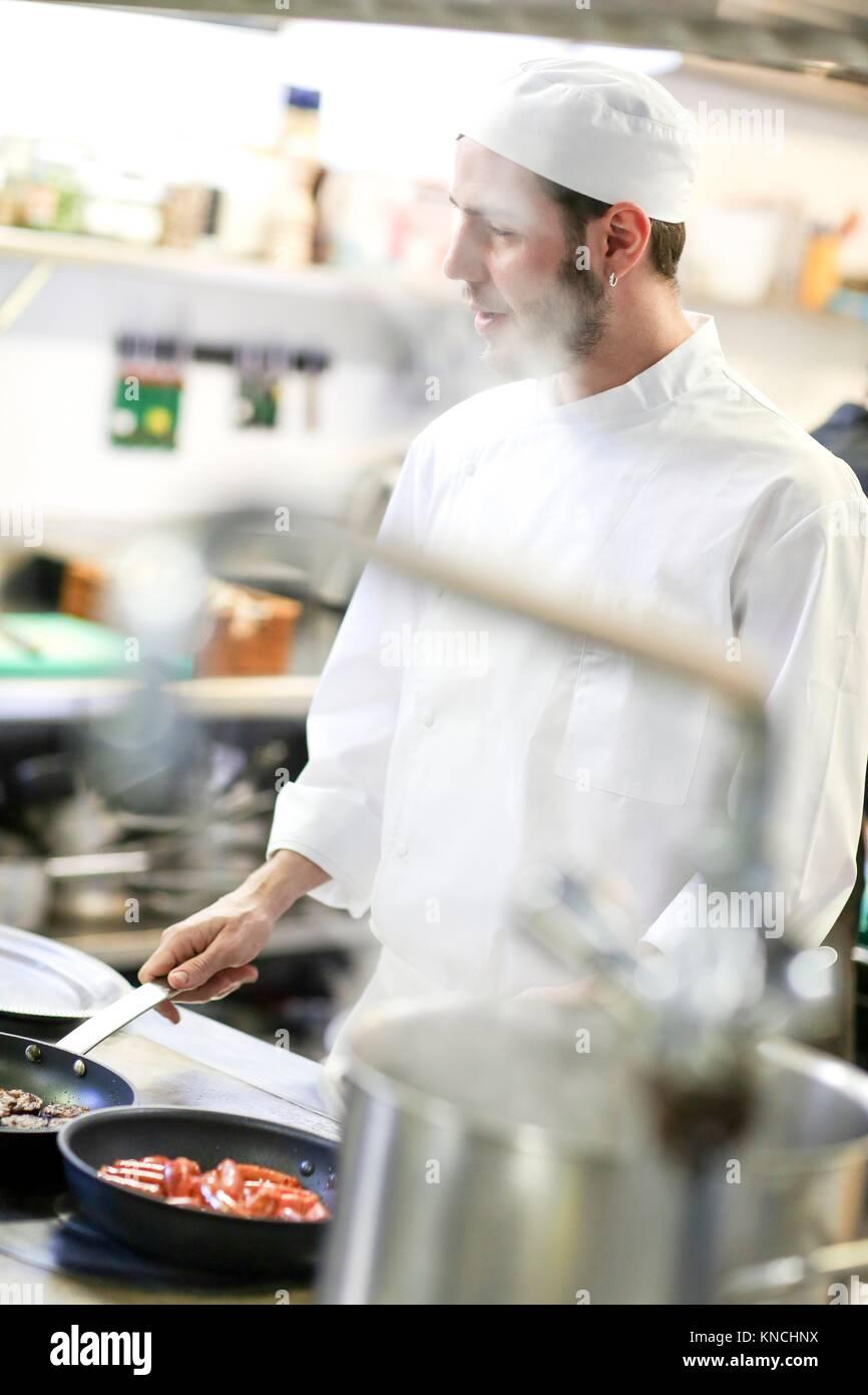 Chef, cocinar en la cocina de la escuela, Escuela de Cocina, Donostia, San Sebastián, Gipuzkoa, País Vasco, Imagen De Stock
