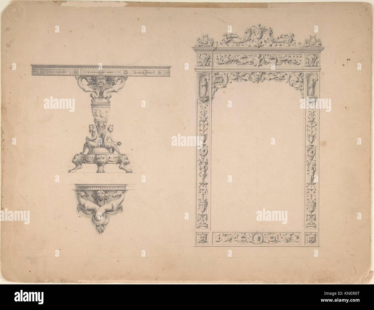 Diseños para un marco espejo y mesa. Artista: Anónimo, italiano del ...