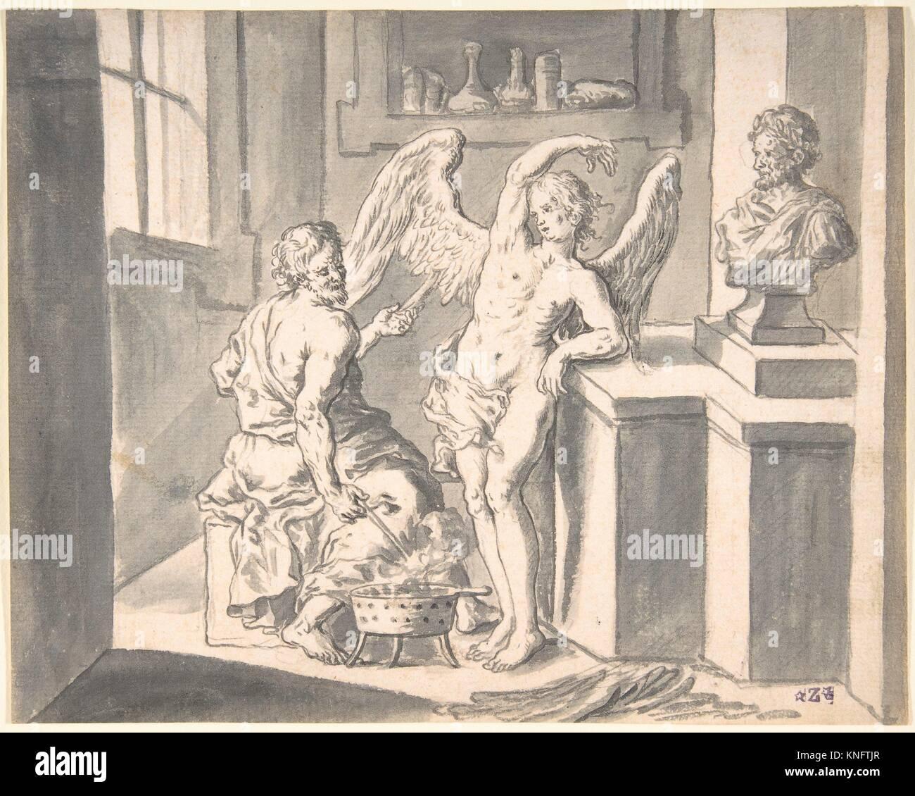 Daedalus formando las alas de Ícaro fuera de cera. Artista: Franz Xaver Littisch Wagenschön austríaco, Imagen De Stock